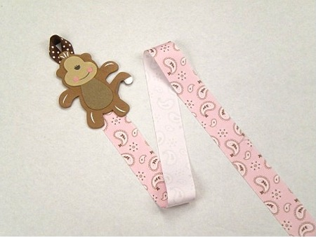 Pink Monkey Barrette Holder