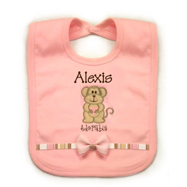 Pink Monkey Personalized Bib