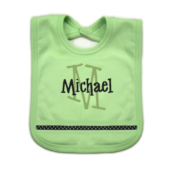 Green & Navy Personalized Bib